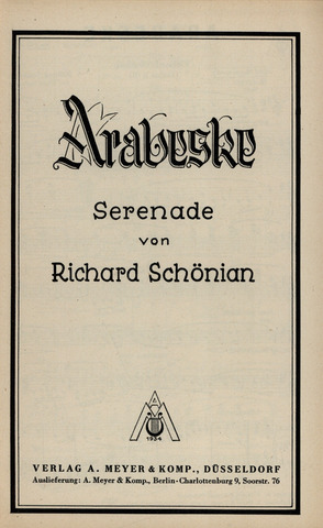 Schoenian Richard: Arabeske