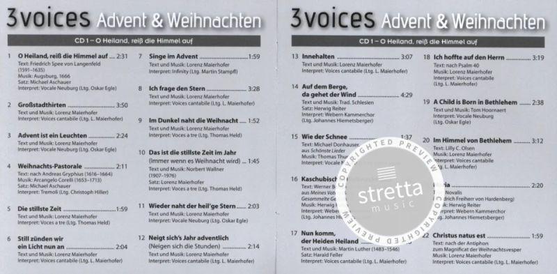 3 Voices Advent Weihnachten Cds Im Stretta Noten
