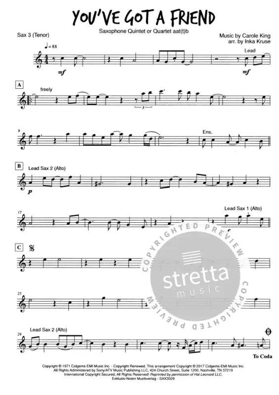 You/'ve Got a Friend 1971 sheet music Carole King