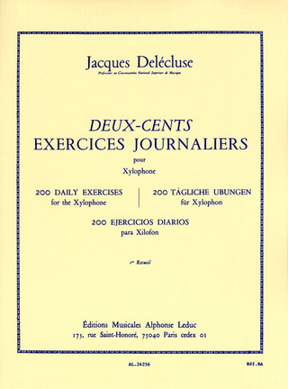 Jacques Delécluse: 200 daily exercises for the xylophone 1