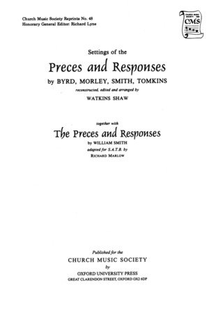 Preces and Responses by Byrd, Morley, Smith and Tomkins